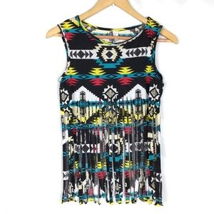 Boutique western chic aztec Mexican fringe top